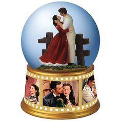 Gone with the Wind Rhett and Scarlett Embrace Water Globe