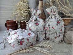 """Купить Льняной мешочек """"Лето в деревне"""" - мешочек льняной, мешочек для трав, мешочек для хранения, для кухни"""