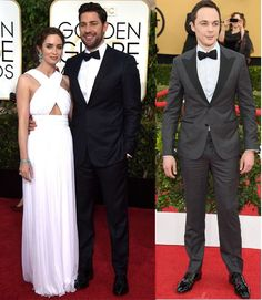 John Krasinski: Perfectly paired to the white-gown-clad Emily Blunt Official, the actor wore a Made-to-Measure midnight navy, two-button notch-lapel tuxedo with grosgrain details, paired with a white dress shirt, and dark grosgrain bowtie, all by Ermenegildo Zegna.  Jim Parson: The The Big Bang Theory actor is always well turned out on the red carpe.He wore an Ermenegildo Zegna Made-to-Measure charcoal and black, glen plaid, two-button, peak-lapel tuxedo.