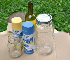 Wine Bottle Crafts | Mason jars and dry, empty wine bottles Your choice of colored paint ...