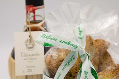 Homemade cantuccini cookies with a nice finishing text ribbon of Nominette