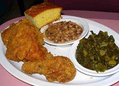 Fried Chicken, greens, blackeyed peas and cornbread