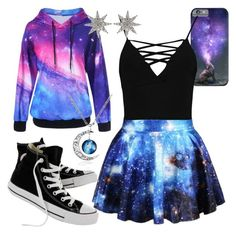 """""""Galaxy"""" by neko4life ❤ liked on Polyvore featuring Boohoo, Converse and Bee Goddess"""
