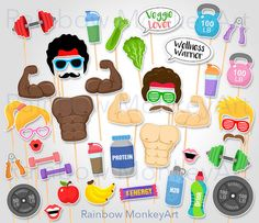 Printable Fitness Gym Photo Booth Props by RainbowMonkeyArt - Tap the pin if you love super heroes too! Cause guess what? you will LOVE these super hero fitness shirts!