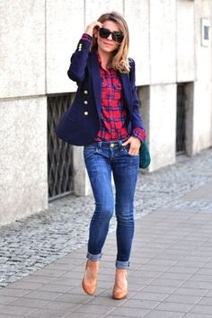 Casual Friday work outfit with plaid button down, jeans, navy blazer, and camel pumps