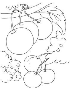 Cherry berry coloring page Summer Coloring Pages, Coloring Pages For Kids, Coloring Sheets, Preschool Crafts, Preschool Bible, Drawing Lessons For Kids, Summer Fun For Kids, Painted Rug, Rug Hooking Patterns