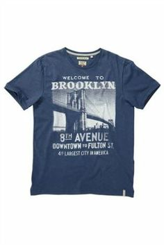 Buy Blue Brooklyn Print T-Shirt from the Next UK online shop