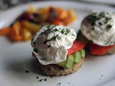 Dill Quinoa Cakes with Avocado, Smoked Salmon, and Poached Eggs