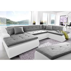 Canapé d'angle panoramique tissu aspect tweed/imitation cuir Softlux®…