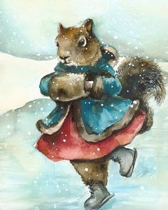 Skating  holiday decor squirrel art by amberalexander on Etsy,