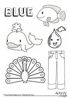 Coloring Page Colors Blue Things Colouring Color Worksheets For Preschool Color Blue Activities, Color Activities For Toddlers, Color Worksheets For Preschool, Kindergarten Coloring Pages, Kindergarten Colors, Toddler Learning Activities, Preschool Activities, Preschool Colors, Coloring Sheets