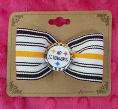 Check out this item in my Etsy shop https://www.etsy.com/listing/242560627/go-steelers-hair-bow