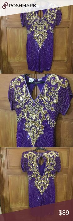 Vintage Glitter Glam Sequin Dress ! Eye Poppin vision in purple and gold.  The sexy back treatment is spot on !  Beauty Queen in the front and party in the back !  Yes these are iconic in fashion history.  Great condition,  some beads here & there missing,  not noticeable, ez to replace.  100% Silk Vintage Dresses