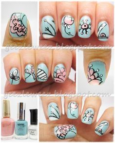 nails i love doodle nails sky blue and pink