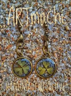 handmade resin and naturl elements earrings, real pressed clover leaf and poppy flower seed, spring earrings, perfect gift for her, ARTMACHI by ARTmachi on Etsy