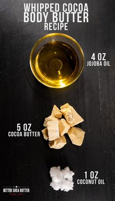 Combine Cocoa Butter, Jojoba Oil + Coconut Oil in a Double Boiler, and melt over low heat until full melted. Remove from heat, cover and put in fridge for about an hour or until cooled, but not completely solid. Whipe using an electric mixer for several minutes until it's fluffy and increased in volume. Scoop into your final containers/jars and it's ready to use! Pure Cocoa Butter, Shea Butter, Scar Cream, Beauty Games, Diy Body Scrub, Electric Mixer, Double Boiler, Whipped Body Butter