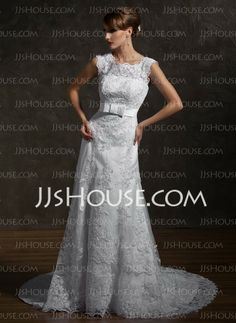 Wedding Dresses - $258.99 - A-Line/Princess Square Neckline Chapel Train Satin  Tulle Wedding Dresses With Lace  Beadwork (002000631)