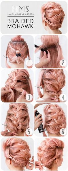 28 ideas braids hairstyles mohawk faux hawk for 2019 - Braided Hairstyle Up Hairstyles, Pretty Hairstyles, Braided Hairstyles, Faux Hawk Hairstyles, Braided Updo For Short Hair, Braided Locs, Edgy Updo, Wedding Hairstyles, Graduation Hairstyles