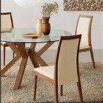 Resultado de imagen de mesa con base de madera y cubierta de cristal