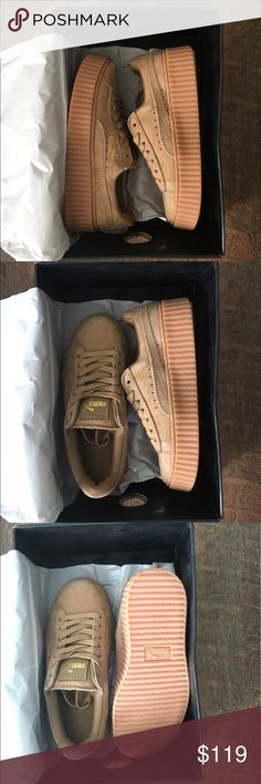 Oatmeal Fenty Rihanna Creepers Size 6 women's fits like 5 or 5.5 womens's. Bought them for my little sister but they don't fit. Brand new just don't have a use for them. Shoes Platforms
