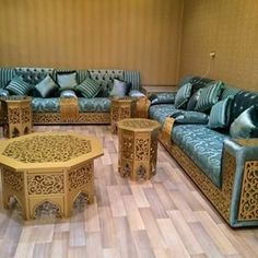Morrocan style lounge area in stone blue and medallion yellow color