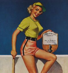Vintage D'Ancona 1955 Art Deco Baseball Queen Rookie of The Year Pin Up Calendar   eBay