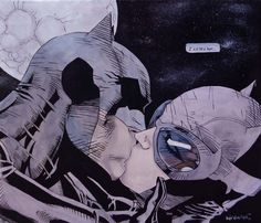 Batman and Catwoman Kiss Jim Lee replica by ~geon on deviantART