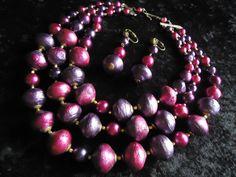 SALE Very Pretty Vintage Purple 3 Strand Beaded by MartiniMermaid