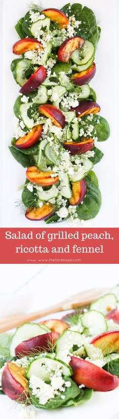 A beautiful salad of gently charred peaches, softened with ricotta and balanced by crisp fresh cucumber and fennel.