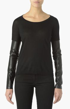LEATHER SLEEVES KNIT SWEATER SILK CASHMERE BLACK