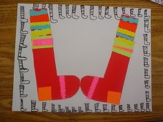 Great activity to accompany, the book A Pair of Socks, which was beautifully illustrated by Lois Ehlert.  We discussed lots of smart ideas, like symmetry, line patterns and matching pairs.  Kids could decorate these in so many ways.  A great way to tie art and literature.  Read more at:  http://dolvinartknight.blogspot.com/2011/10/pair-of-socks-1st-grade.html