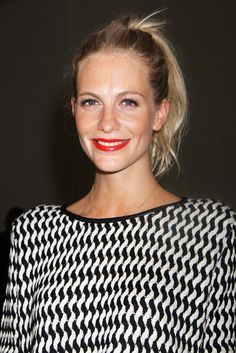 YES to Poppy Delevingne's bright red lipstick at NYFW