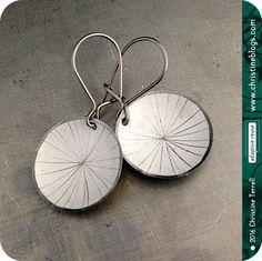 Etched Starburst -- Upcycled Tiny Basin Earrings -- You Choose the Color by christineterrell on Etsy