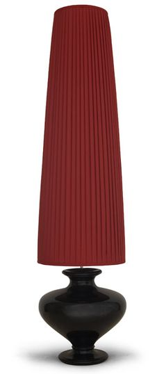 Floor Lamp - The outstanding turned wood lacquered base of this unusual floor lamp is perfectly shaped into an exquisite urn form to create a stylish contemporary accessory.
