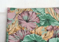Vintage viscose dress fabric tropical staple green and lilac floral fabric by the yard by Klaptik on Etsy #vintage #dress