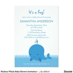 "Modern Whale Baby Shower Invitation - Boy 5"" X 7"" Invitation Card"