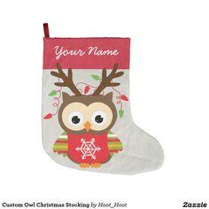 Custom Owl Christmas Stocking Large Christmas Stocking