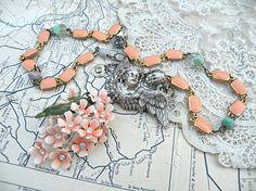 peach blossom necklace assemblage angel enamel flower romantic