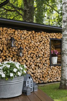 Discover recipes, home ideas, style inspiration and other ideas to try. Outdoor Firewood Rack, Firewood Storage, Outdoor Spaces, Outdoor Living, Outdoor Decor, Wood Store, Wood Shed, Garden Inspiration, Beautiful Gardens