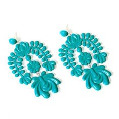 Turquoise Polystyrene Oversized Garland Chandelier Earrings