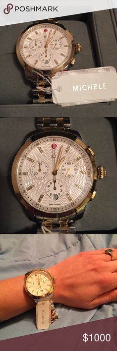 NWT Michele two toned Uptown Watch Gorgeous! NWT! Has the larger face. Retails for $1495 + tax. You get the Michele box,  the instruction book and the watch. Great deal!! Reasonable offers accepted ❤ not valid for bundle discounts. - .12 CTTW. Water resistant up to 5 ATM. Two toned with silver and gold. Gold around the face. Hard to find! 18mm strap, 28 diamonds. Swiss movement. Michele Accessories Watches