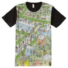 Shop Where's Waldo Campsite All-Over-Print T-Shirt created by WheresWaldo. Wheres Waldo, Stylish Shirts, S Shirt, Campsite, Custom Design, Print Design, Creative, Prints, Mens Tops