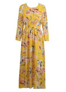 Bohemian Floral Print Long Sleeve Floor Length Maxi Dress