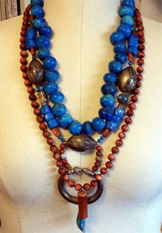Antique SS Chinese Dragon & Hexagon Turquoise Trade Beads Statement Necklaces