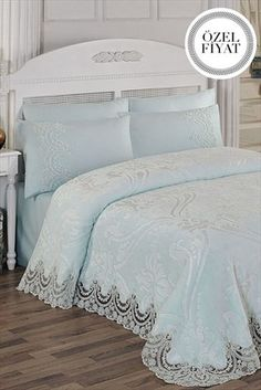 Evlen Home & Alanur Home Collection - Double French Lace Blanket . Baby Blue Bedrooms, Bedroom Red, Dream Bedroom, Bedroom Decor, Ruffle Bedding, Bedding Sets, Peacock Room Decor, Bed Cover Design, Daybed Sets