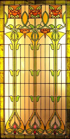 Floral Stained Glass Art Nouveau stained glass window from the collection of . Floral Stained Glass Art Nouveau stained glass window from the collection of . Stained Glass Designs, Stained Glass Panels, Stained Glass Projects, Stained Glass Patterns, Leaded Glass, Stained Glass Art, Window Glass, Glass Door, Glass Partition