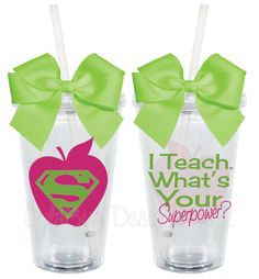 I Teach...What's Your Superpower Teacher Appreciation 16oz Personalized Acrylic Tumbler. $15.00, via Etsy.