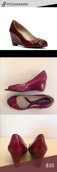 """Naturalizer Bonna red button accent wedges size 10 Naturalizer Bonna red button accent wedges size 10. Comfort Bonna wedges. Round peep toe . Faux patent leather upper 2.5"""" wedge heels Naturalizer Shoes Wedges"""