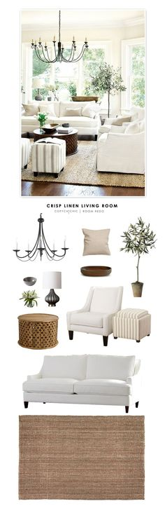 Copy Cat Chic Room Redo | Crisp Linen Living Room