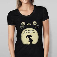 Womens Totoro et Silhouette Mei T shirt imprimé  noir  rouge